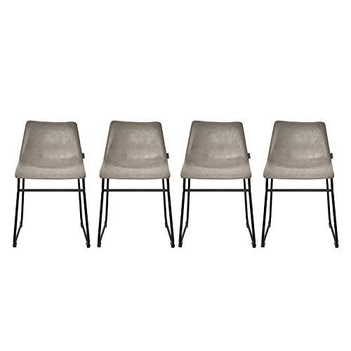 - Modern upholstered Dining Room Chair - Metal Base Faux Leather Bucket Seat Counter Barstools Bistro Cafe Side Chairs (Set of 4 Gray)
