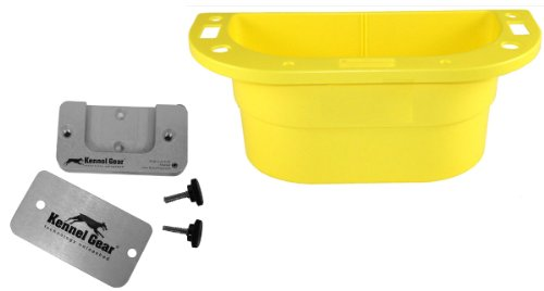 Pet Supply Caddy with Metal Kennel Bar Mount, Yellow