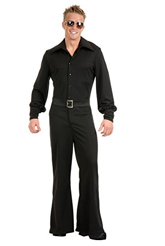 70's Inspired Halloween Costumes (Charades Costume Jumpsuit Men's Disco Fever King, Black,)
