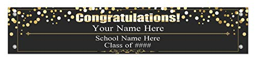 Graduation Decor Your Information Congratulations Banner Grad Decoration Personalized Vinyl Banner]()