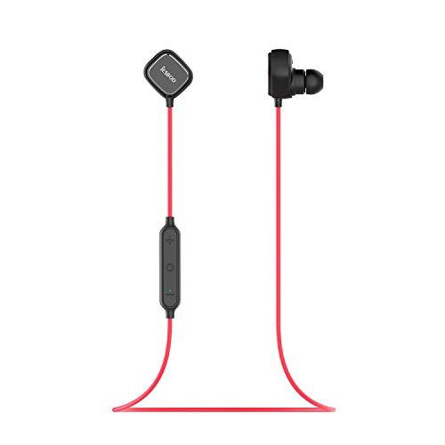 JESBOD QY12 Bluetooth Kopfhörer 4,1 Wireless Sport Headset Ohrhörer In-Ear Noise Cancelling Earbuds mit Mikrofon für iOS und Android Handys iPad Tablets - Magnetische Kontrolle & Schweißfänger (Schwarz und Rot) (Schwarz und Rot)