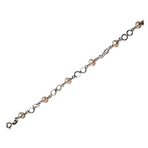 Pulsera plata ley 925m 18cm. perla cultivada motivo círculos [AB5582]