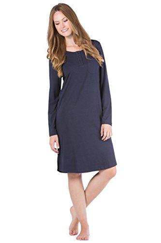 Fishers Finery Women's Henley Night Shirt Long Sleeve; Below Knee (Navy, XL)