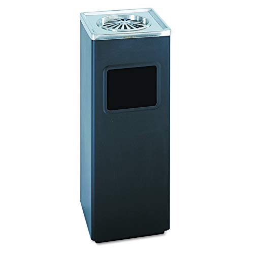 Safco Products 9696BL Square Ash And Trash Trash Can, Black (Trash Can Smokers)