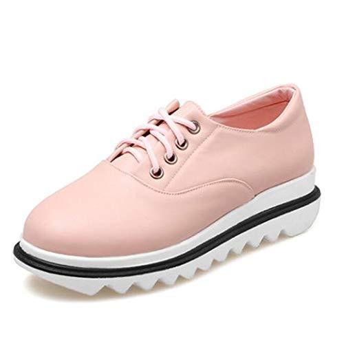 Primavera donna piatto ZHZNVX Comfort da Sneakers poliuretano PU Tacco Pink Mandorla Scarpe Rosa tonda Nero Punta Estate 41w1WvXH