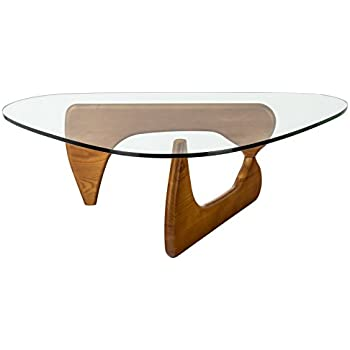 poly bark style triangular coffee table walnut noguchi room and board isamu base only