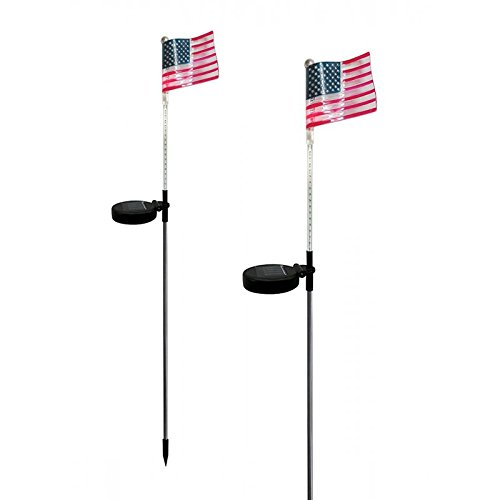 Solar Powered Flashing LED Light American USA Flag Garden Stake, Set of 2 (Lights Flag Usa)