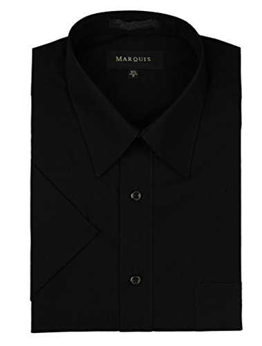 marquis-mens-short-sleeve-solid-dress-shirt-all-sizes-colors-s-145-black