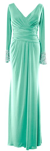V the Evening Bride Long of Jersey Gown Neck Formal Minze MACloth Dress Sleeves Mother d0xPnwq0E8