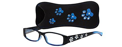 Select-A-Vision Dog Bone Rectangular Reading Glasses w/Pawprint Design, Blue, 1.50