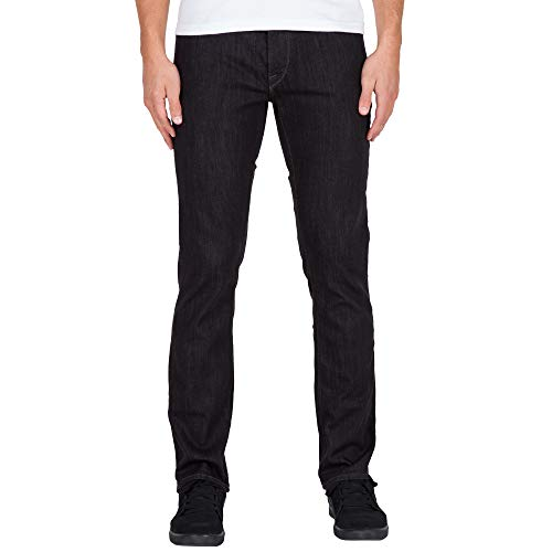 Volcom Men's Vorta Slim Fit Stretch Denim Jean, Black Rinser, - Jean Black Volcom Zip