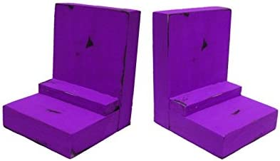 2 Piece Wood/Wooden Bookends - Purple - Decorative Distressed Vintage Wooden Book Display