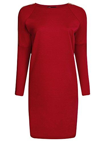 oodji Collection Mujer Vestido de Punto con Cremalleras Decorativas en los Hombros Rojo (4500N)