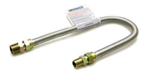 Flextron FTGC-SS38-36 34 Gas Line Connector with 1//2 Outer Diameter and Nut Fittings Stainless Steel