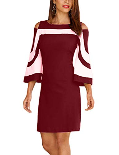 SEBOWEL Women's Chic Colorblock Casual Cold Shoulder Bell Sleeve Elegant Mini Dress Burgundy-S