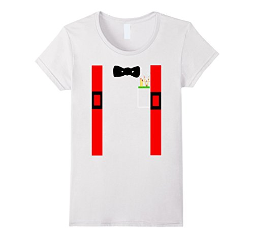 Womens Nerd Costume Shirt Suspenders Bow Tie Pencils Protractor Medium White