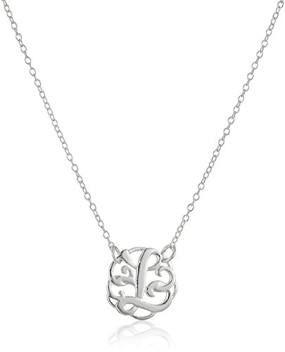 Sterling Silver Monogram Initial 'L' Pendant Necklace, 18.5'