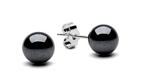 (Hematite 925 Sterling Silver Stud Earrings (6 Millimeters))