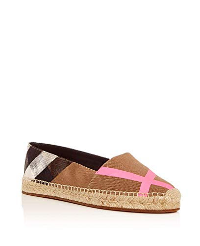 BURBERRY Womens Hodgeson House Check Espadrille Flats Bright Pink (38.5)