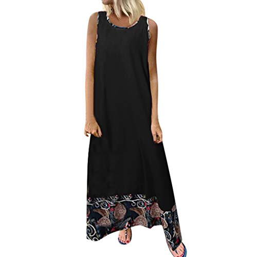 Sunhusing Ladies Vacation Beach Bohemian Casual Cotton Linen Round Neck Print Stitching Sleeveless Long Dress Black