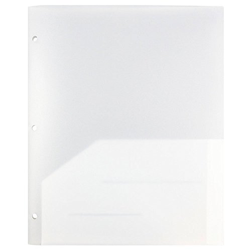 JAM Paper Plastic Two Pocket 3 Hole Punched Presentation School Folder - Clear - (3 Clear Pockets)