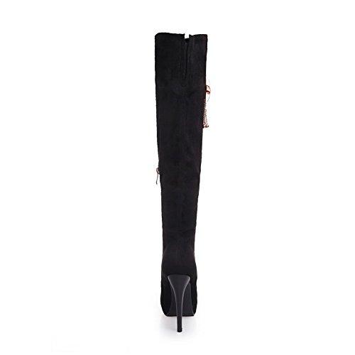 Allhqfashion Dames Pu Frosted Aren Stilettos Laarzen Met Glas Diamant En Platform Zwart
