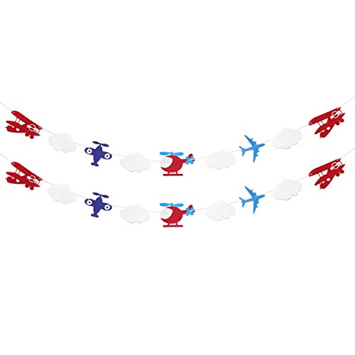 (Airplane and Clouds Garland Banner for Airplane Themed Birthday Baby Shower Up Up and Away Party Supplies)