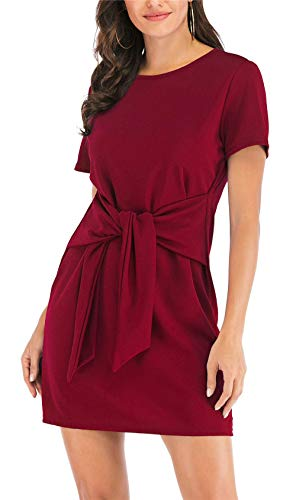 MIDOSOO Womens Solid Color Short Sleeve Wear to Work Pencil Dress with Belt #2Wine Red S