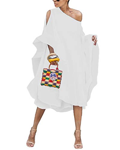 ThusFar Women's Casual Flying Sleeve Cold Shoulder Loose Layered Batwing Chiffon Caftan Poncho Cover Up T Shirt Dress White XL