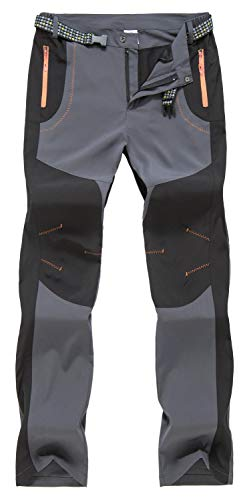 TBMPOY Men's Summer Lightweight Breathable Climbing Trouser Travel Work Pants(Gray,US 32)
