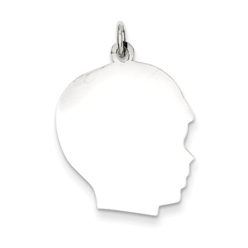 - Sterling Silver Polished Engravable Personalize Large Boy Silhouette Head Charm Pendant
