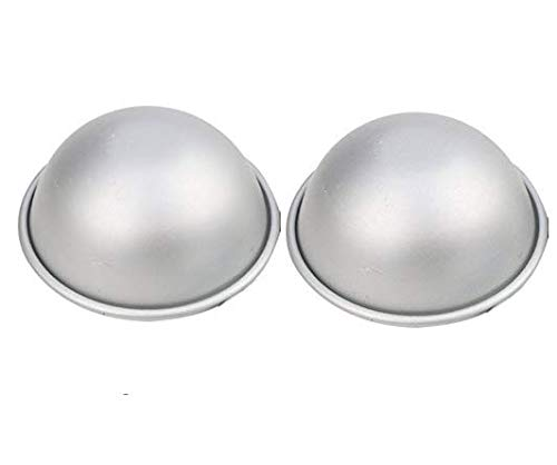Astra Gourmet 4.4 inch Aluminium Baking Mold Bath Bomb Molds, Ball Pan Sphere Cake Pan, Baking Mold Pastry Mould - Set of 2 (Pan Belly Pregnant Cake)