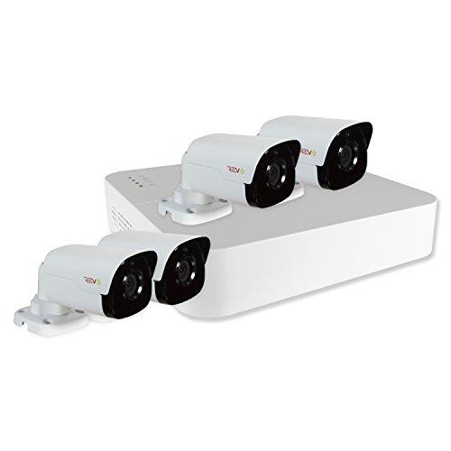 REVO America RU41B4G-1T Ultra HD 4-CH 1TB NVR Surveillance System with 4 x 4 Megapixel Bullet Cameras (White)