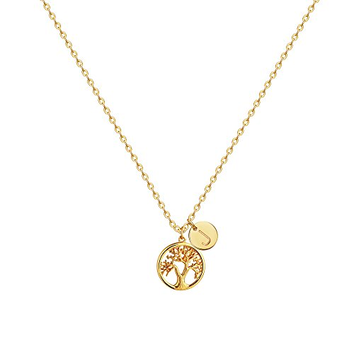 OSIANA Family Tree of Life Pendant Necklace,14K Gold Plated Personalized Initial J Necklaces for Women(Letter:J) -