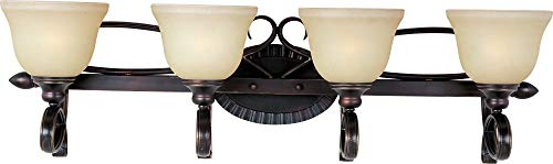 Maxim 21314WSOI Infinity 4-Light Bath Vanity, Oil Rubbed Bronze Finish, Wilshire Glass, MB Incandescent Incandescent Bulb , 15W Max., Damp Safety Rating, 2800/2900K Color Temp, Standard Triac/Lutron or Leviton Dimmable, Opal Acrylic Shade Material, 1050 Rated Lumens