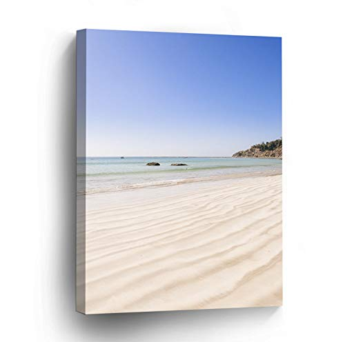 wonbye Modern Canvas Painting Wall Art Picture For Home Decoration | White Beach Sand Print On Canvas Giclee Stretched Framed Artwork For Wall Decor 12 x 15 ()