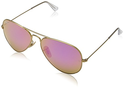 Ray-Ban RB3025 Aviator Flash Mirrored Sunglasses, Matte Gold/Polarized Violet Flash, 58 mm (Celeb Sunglasses)