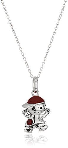 Hallmark Jewelry January Birthstone Sterling Silver Crystal Boy Pendant Necklace, 18
