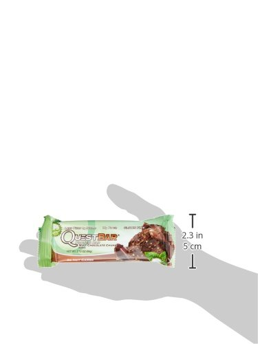 Quest Nutrition Protein Bar, Mint Chocolate Chunk, 20g Protein, 4g Net Carbs, 200 Cals, High Protein Bars, Low Carb Bars, Gluten Free, Soy Free, 2.1 oz Bar, 12 Count