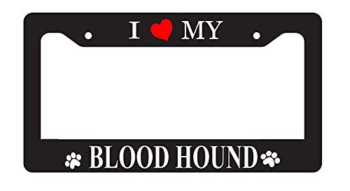 I Love My Blood Hound License Plate Frame