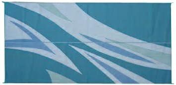 Patio Mats 071 8u0027 X 20u0027 Green/Blue Flare Reversible Patio Mat