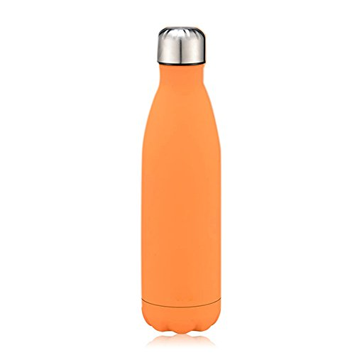 Zehui 500ML Pure Color 304 Stainless Steel Water Bottle Thermal Swell Hand Painted Shape Vacuum Insulated Water Bottle Lemon Orange by Zehui