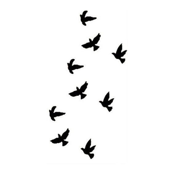 S.A.V.I 3D Temporary Tattoo Flying Birds Design Size 10.5x6cm - 1pc, Black, 4 g