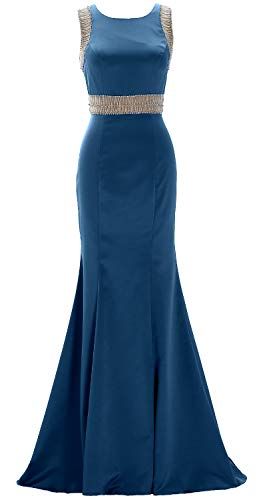 Macloth Satin Sheath Evening Boat Teal Formal Prom Neck Beaded Gown Women With Dress qSUVzMLpG