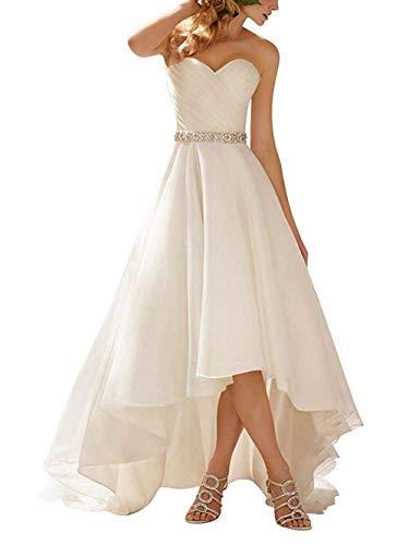 De Sin bajo Tirantes Vestidos Alto Vestido Novia Organdí Boda Largo Mujer Blanco Jaeden 5gaqwv