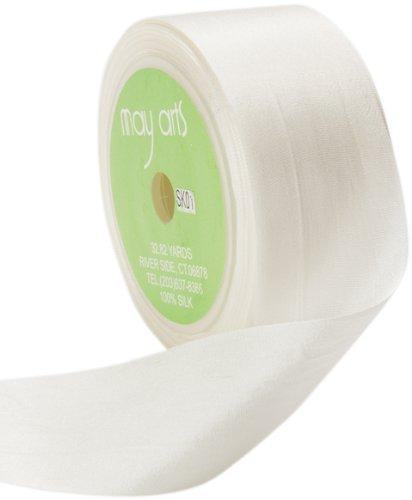 May Arts 1-1/4-Inch Wide Ribbon, White Silk Ribbon