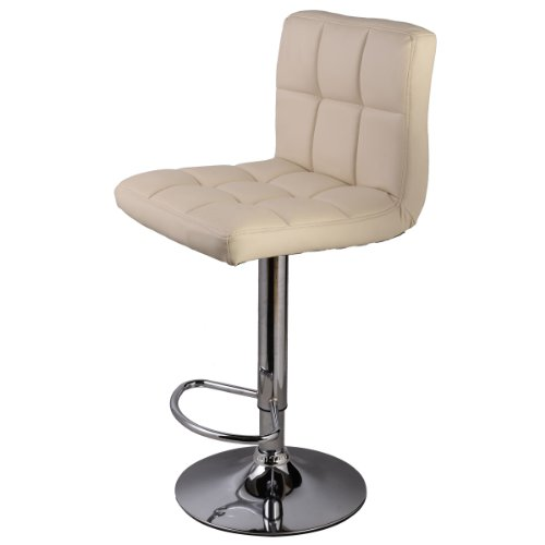 New Off White Bar Stool PU Leather Barstools Chair Adjustable Counter Swivel Pub (Maple Bow Back Glider)