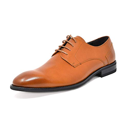 Halloween Oxford 2019 (Bruno Marc Men's Classic Dress Shoes Plain Toe Formal Casual Lace up Wingtip Leather Oxford Brown Size 9.5 M US)