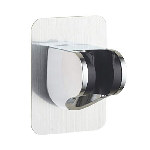 Ninasill Punch-Free Seamless Sticker Shower Bracket Shower Head Handset Holder Chrome Bathroom Wall Mount Adjustable Bracket (Silver) -