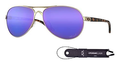 Oakley Feedback OO4079 407918 59M Polished Gold/Violet Iridium Polarized Sunglasses For Men For Women+BUNDLE with Oakley Accessory Leash Kit